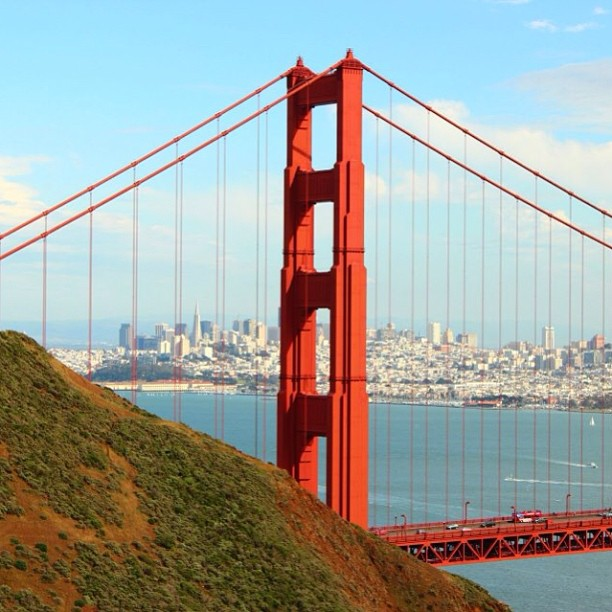 View of SF through the Golden Gate (while shooting at Marin Headlands). #goldengate #bridge #thecity