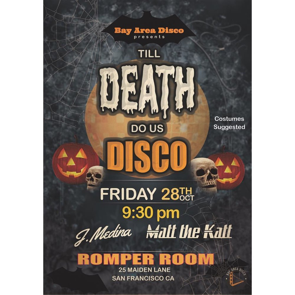 "Start your Halloween weekend right and join us at ""Till Death Do Us Disco,"" Friday October 28th. Get your scariest, sexiest, or funniest costume and get ready for a night filled with disco, soul, funk, nu-disco, and R&B edits! Let's 'Boooo'gie!"