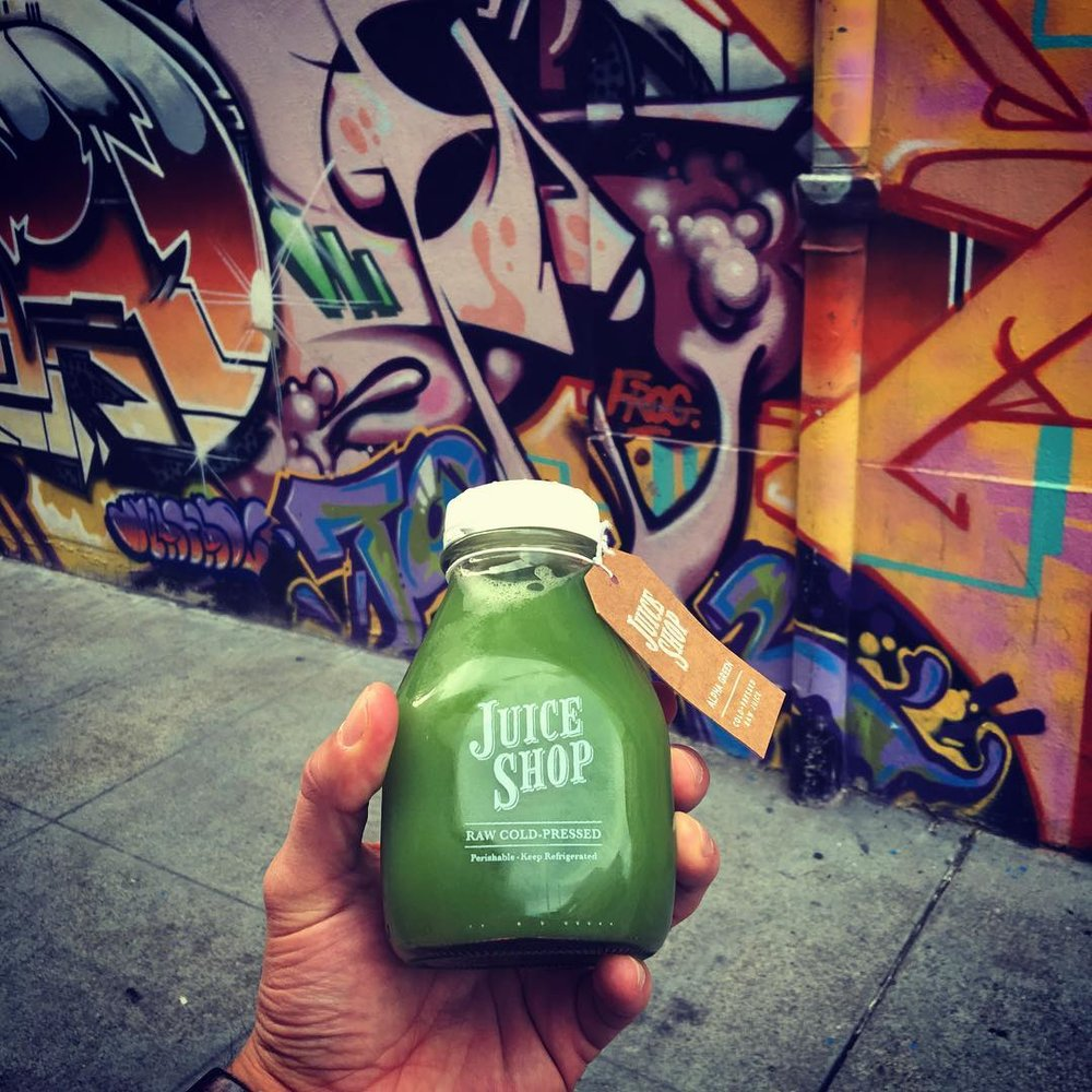 Shout out to the @juiceshopsf - time to get back on track! #juicing #alphagreen #healthyliving ##handmodel