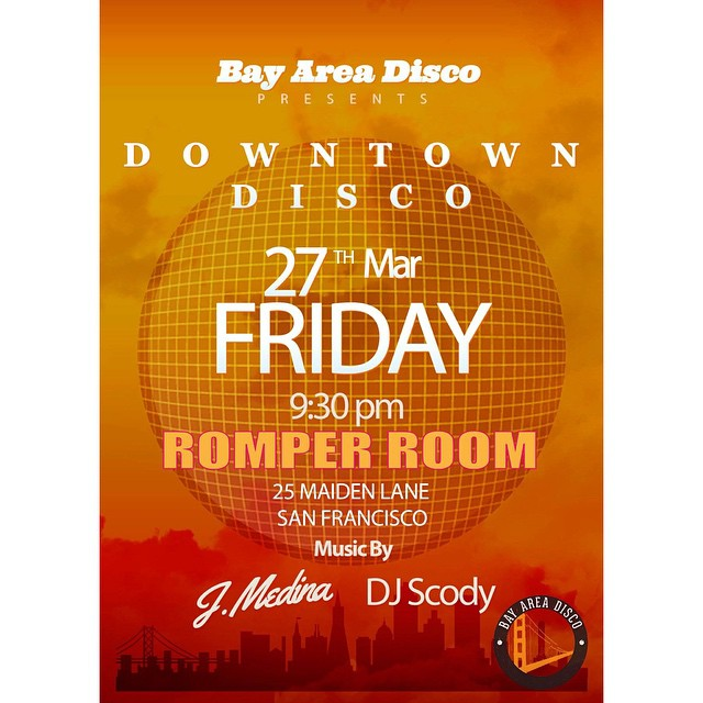 "@bayareadisco presents ""Downtown Disco"" We are back with our Downtown Disco series at the new Romper Room (previously Otis Lounge) in Union Square where J. Medina and DJ Scody will be serving up straight disco and disco house tunes to keep you moving all night long. Romper Room 25 Maiden Lane San Francisco CA #disco #discohouse #nudisco #indiedance #sf #oakland #bayarea #downtowndisco #romperroom #goodvibes #sfnightlife #fridaynight #oklastone"