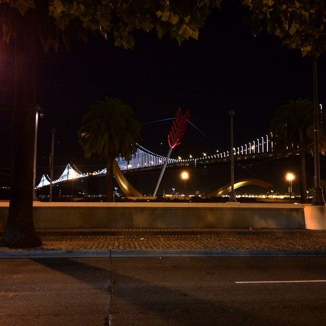 Done hooping and on the way home, then this beautiful view caught my eye. Guess what SF, I love you too 😍! #baybridge #blessed #cupid #SF #youthebest #goodnight