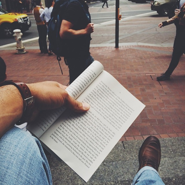 """""""A reader lives a thousand lives before he dies. The man who never reads lives only one."""" #lunchtime #downtown #SF"""