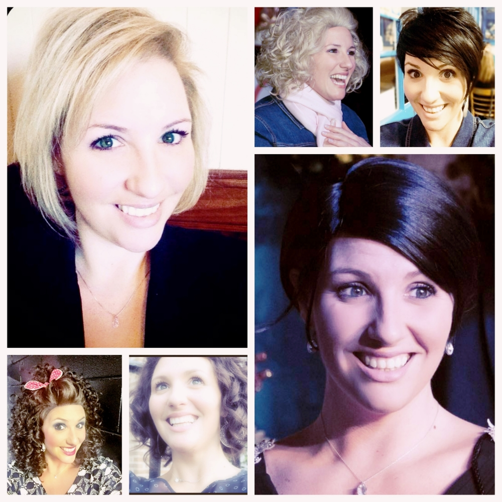 The different wig styles I wear. The top left is all me. That's the only real one.