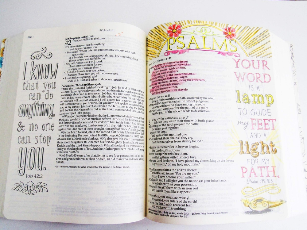 Each chapter has a beautiful design along with the title. Here, I colored the first page of Psalm, but the page on the left is an example of the over 400 images you can color in your Bible.