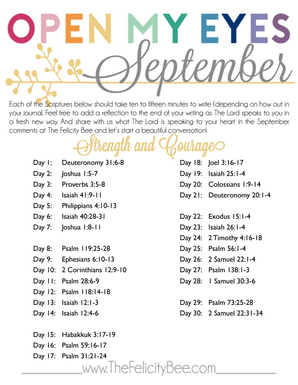Click here  to download a PDF of the September plan.