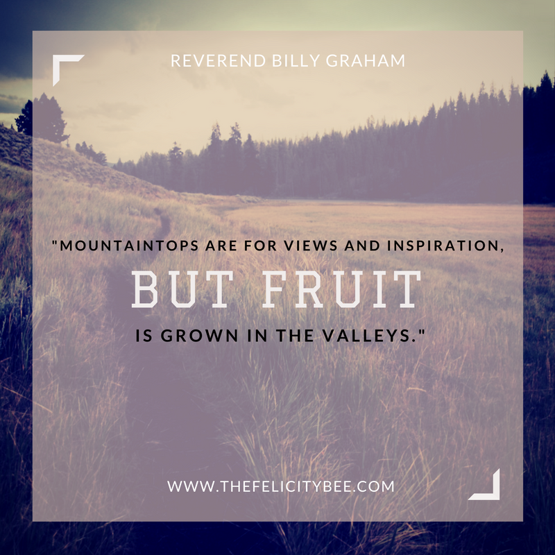 It is in life's valleys that you are being cultivated. It is in life's valleys that you are becoming fruit-bearing. It is in life's valleys that you are becoming strong and courageous so that when you get to the mountain top again, you can rest.