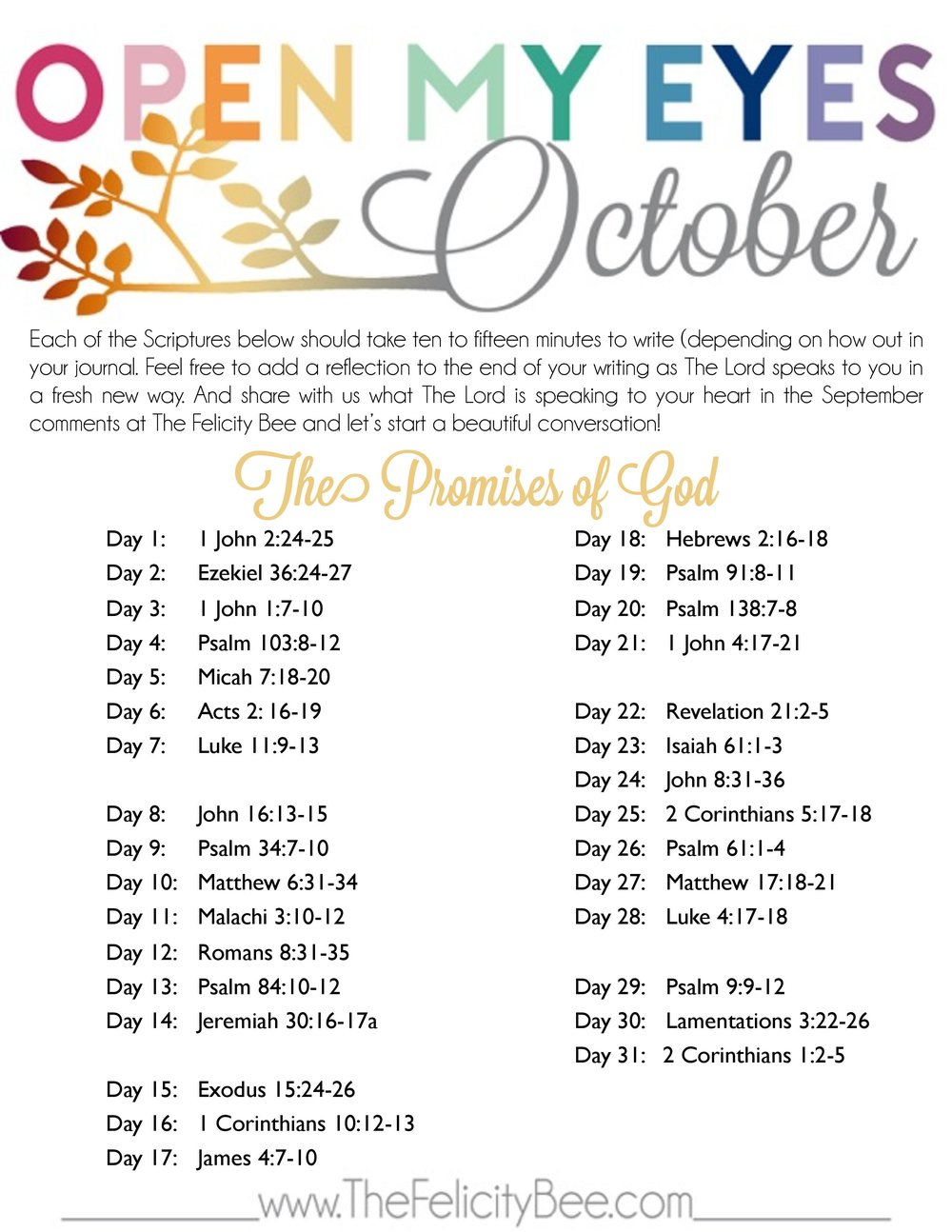 Download a PDF of your October Plan  HERE .