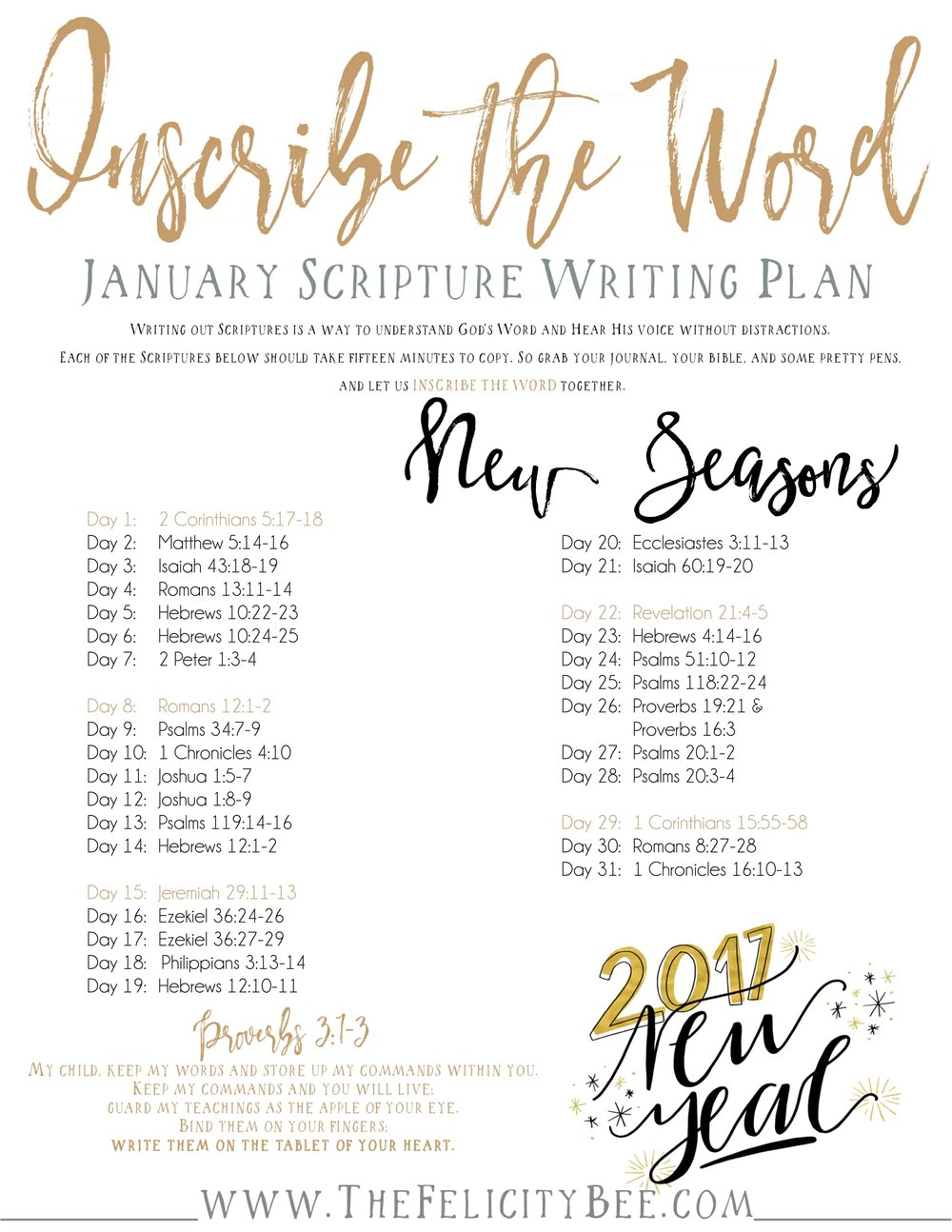 Inscribe the Word . . . January Scripture Writing Plan. — A Symphony ...