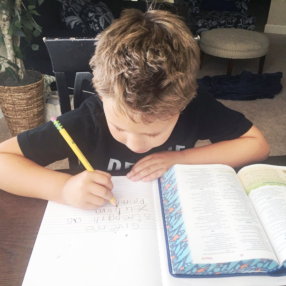 We use INSCRIBE THE WORD as part of our homeschool curriculum. Scripture Writing has beena great practice not only for memorizing the Word, learning the Bible, and hearing God's heart, but also for handwriting practice for your younger kiddos!