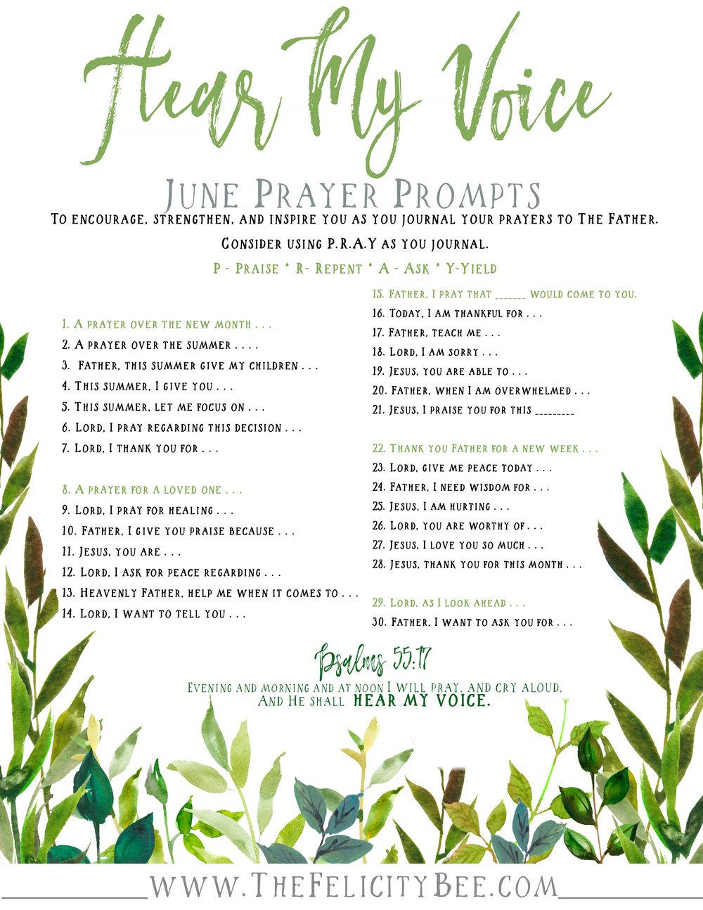 Hear My Voice Prayer Prompts.