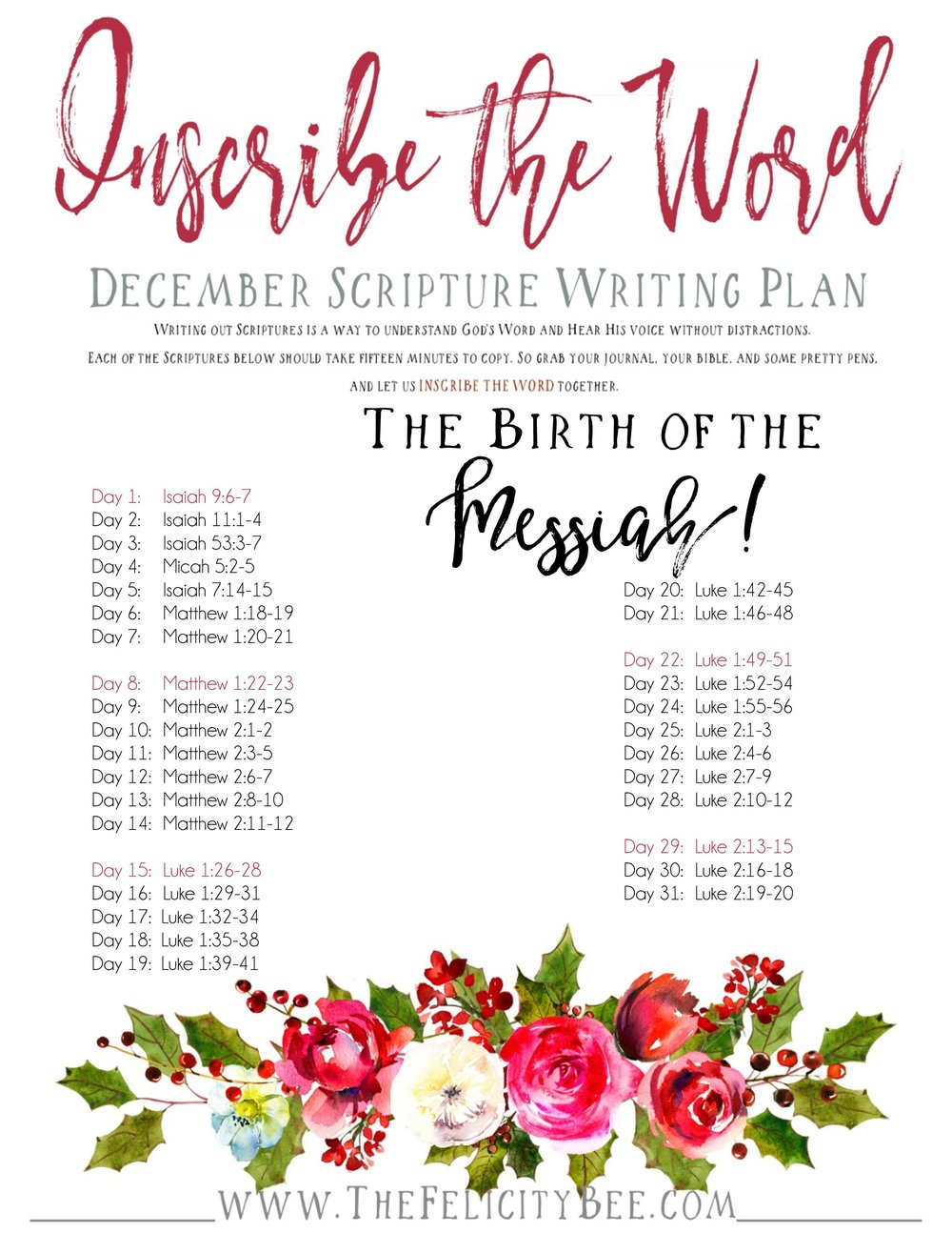 CLICK HERE  to download your December Scripture Writing Plan.  CLICK HERE  to download your December Scripture Writing Plan for the kiddos!