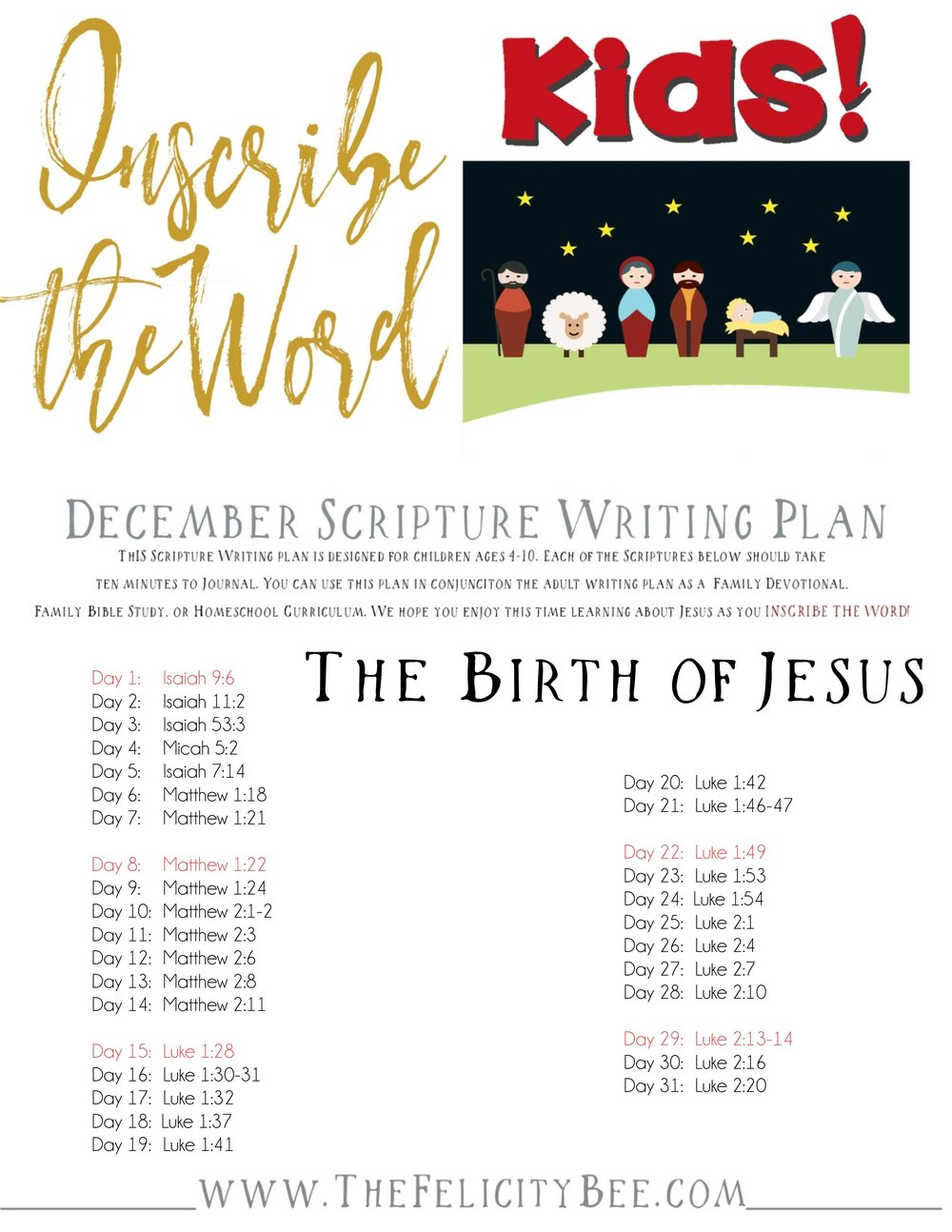 CLICK HERE  to download your Scripture Writing Plan.
