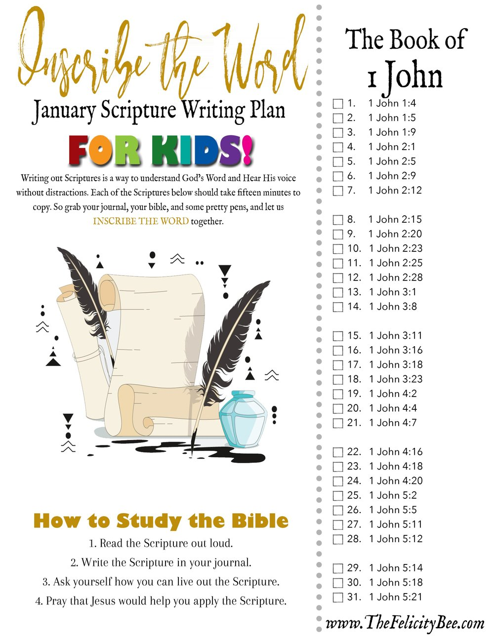 CLICK HERE  to download your 2018 January Scripture Writing Plan FOR KIDS!