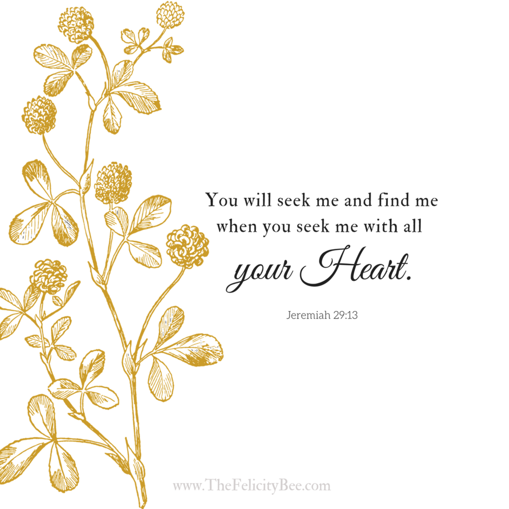 You will seek me and find me when you seek me with all of your heart. Jeremiah 29:13