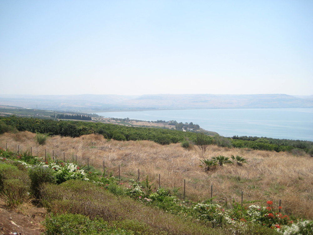 """This picture is from the ""Mount of Beatitudes"" and looks down on the slopes going down to Capernaum."" ( Picture Source )"
