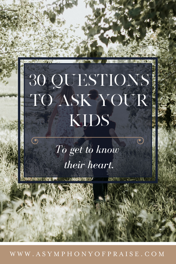 30 questions to ask your kids to get to know their hearts. These conversation starters will get your kids talking and sharing what's inside of their heart!