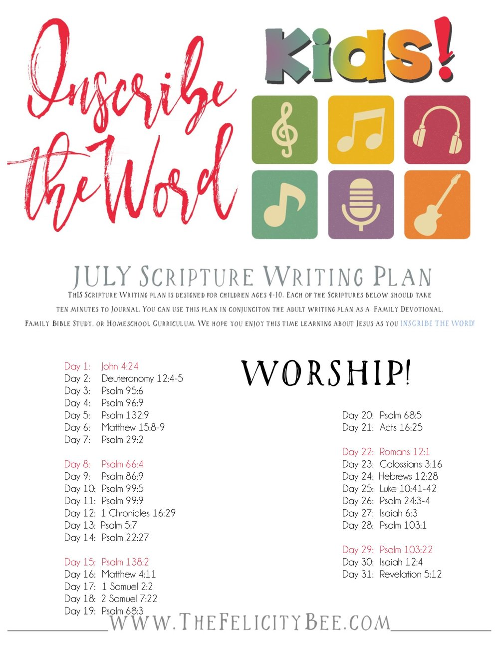 Join us this month as we Inscribe the Word with WORSHIP. This kids' plan will be the perfect way to study the Scriptures with your kiddos!