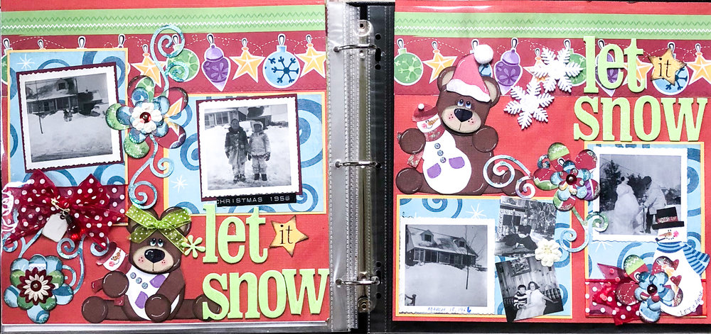 I created this layout for my Mom's memory album. I loved the black and white photos against the bright Christmasy colors.
