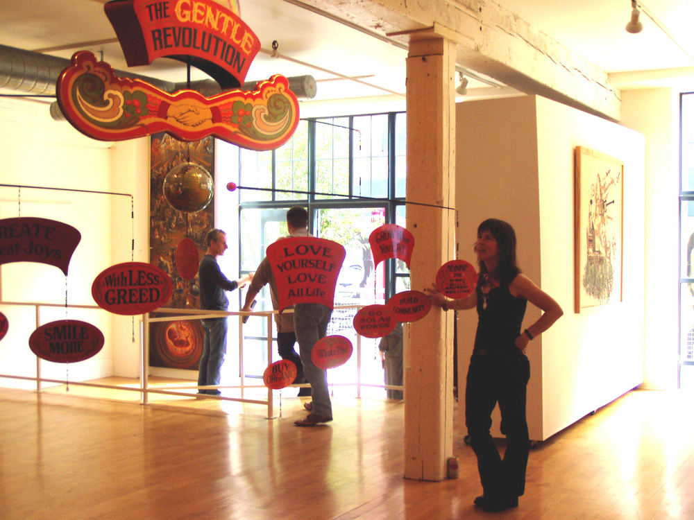 The Gentle Revolution Mobile  a politic, Gallery XIV, Boston  2008, Mixed media, painted kinetic sculpture, 6' x 11' x 11'