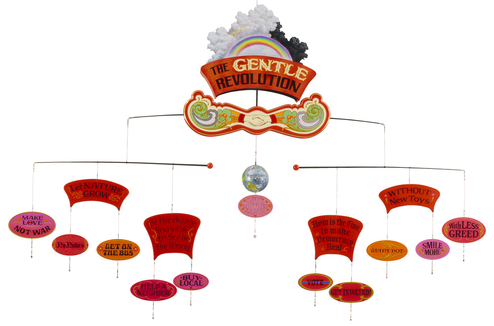 The Gentle Revolution Mobile  (side a)  2008, Mixed media painted kinetic sculpture   6' x 11' x 11'