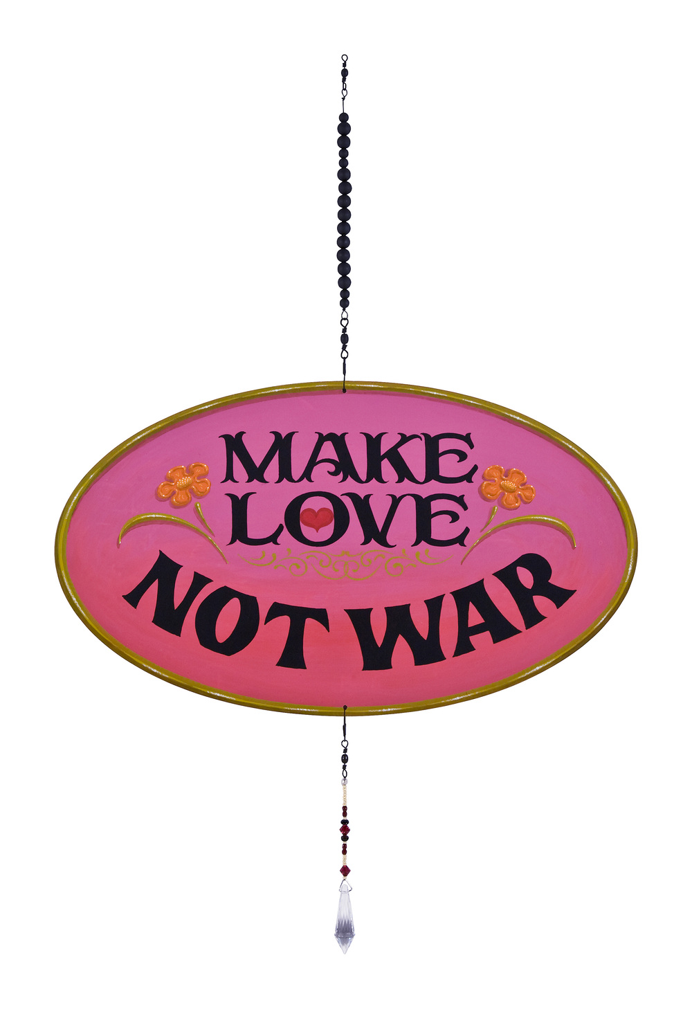 "Make Love Not War   2010, Oil alkyd painting on aluminum with  spinners and beaded crystal  20"" x 13"" x .25"""