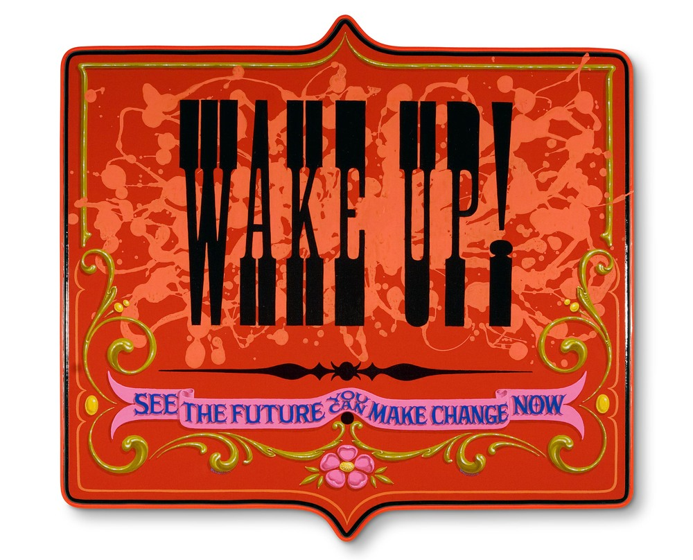 "Wake Up!   2008, Oil alkyd and fluorescent poster painting on wood panel  19"" x 20"" x 1.5"""
