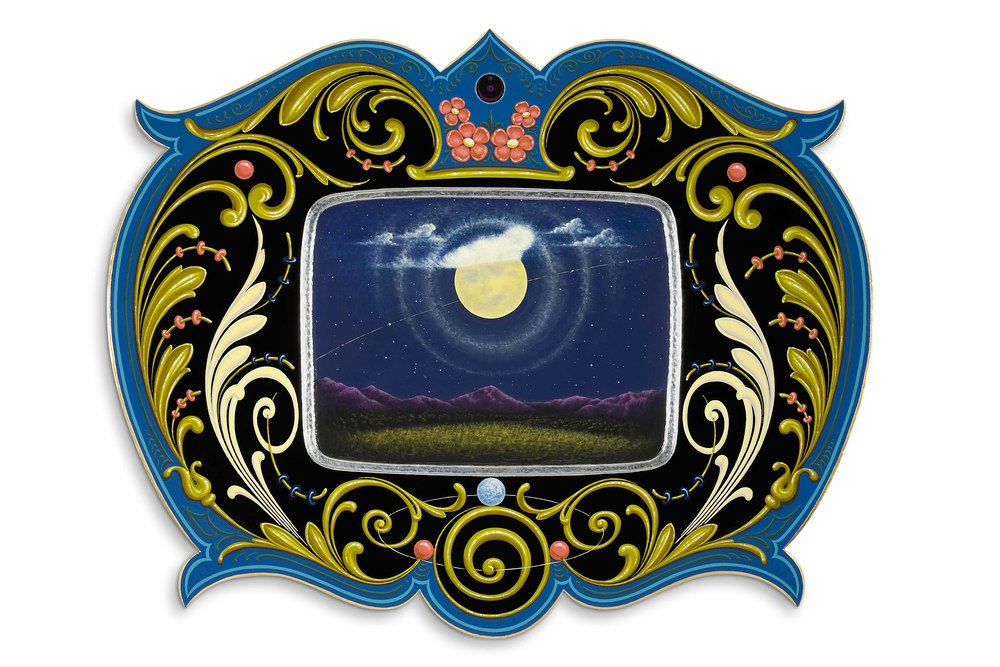 "Miss Moon   2005, Oil alkyd painting on carved poplar with  23k and aluminum gilding  22"" x 27"" x 2"""