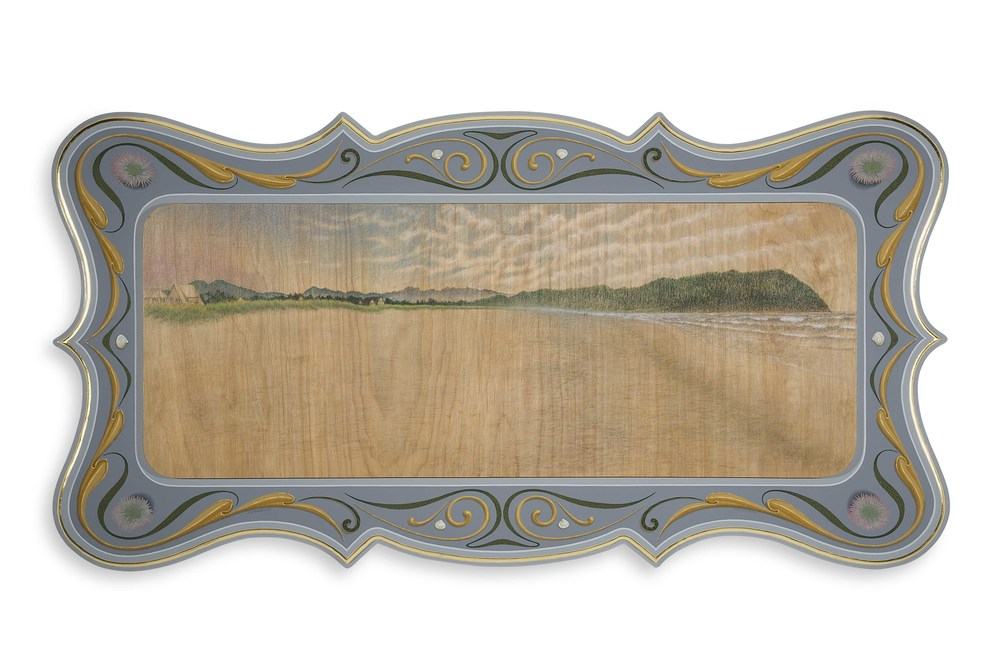 "Tillamook Head East   2009, Oil alkyd painting and drawing on  wood panels with 23k gilding  20"" x 39"" x 1.5"""