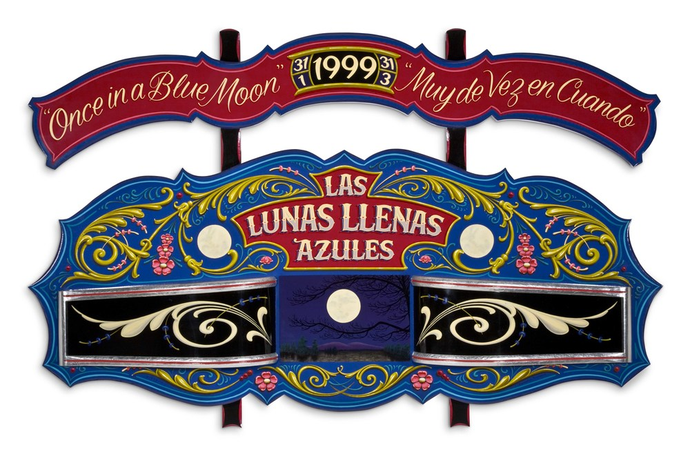 "Las Lunas Llenas Azules/The Blue Moons   1999, Oil alkyd painting on carved poplar with aluminum gilding  30"" x 48"" x 5"""