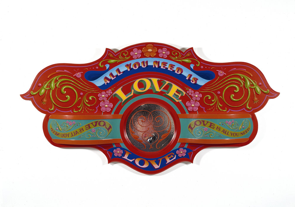 "All You Need is Love   2000, Oil alkyd painted assemblage sculpture of carved poplar, aluminum panels and etched mirror glass  24"" x 40"" x 4"""