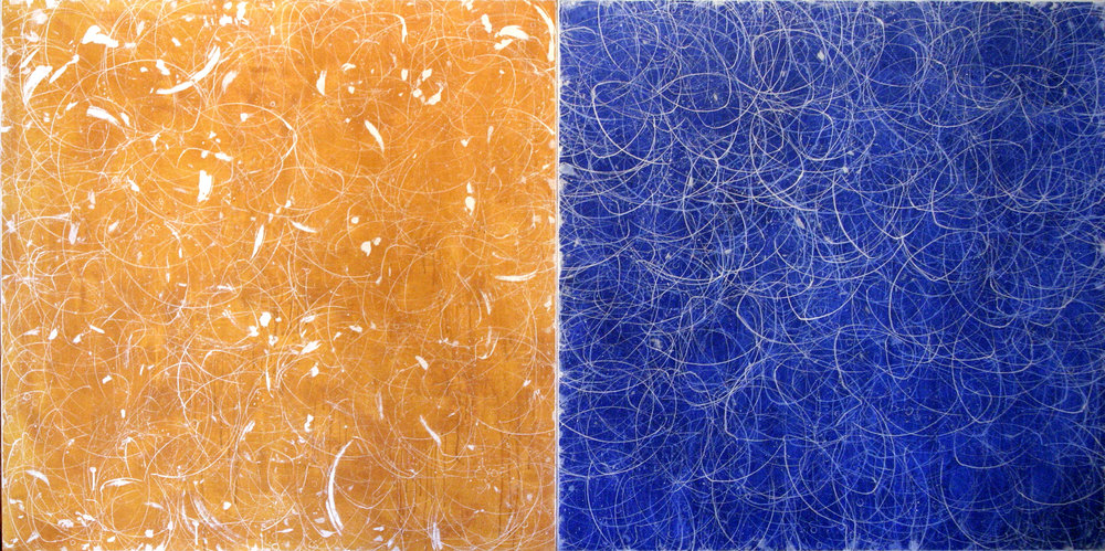 "ochre blue diptych    50""X100""    ACRYLIC ON CANVAS  2003"