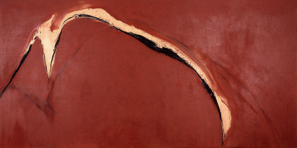 "pass    48""X103""    oil and paintstick ON CANVAS  1981"