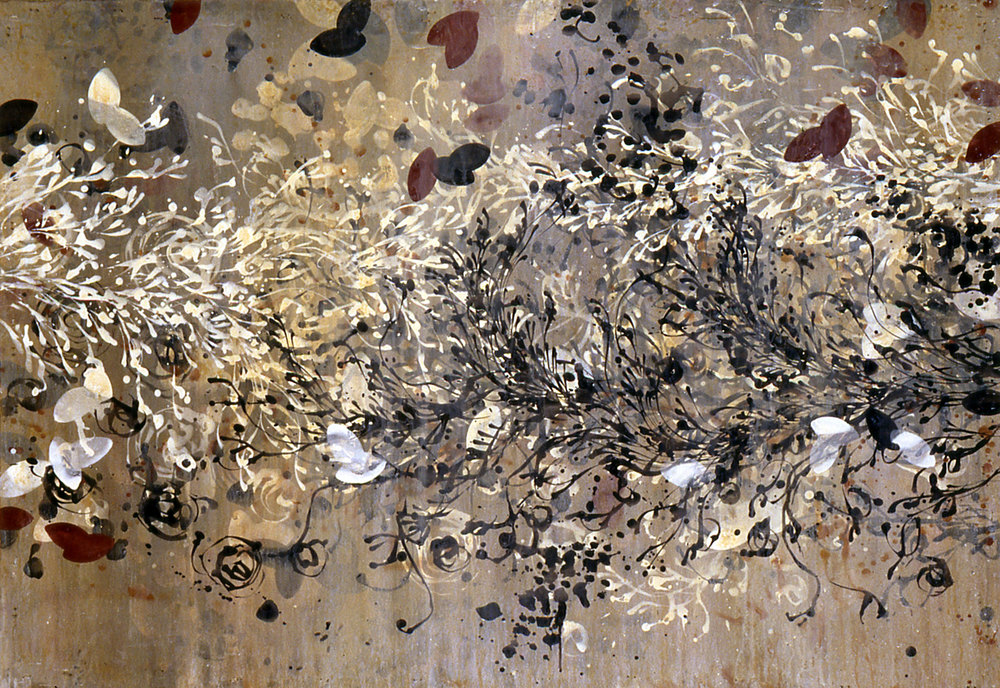 "soft water   39.5""x56.5""   ACRYLIC ON PAPER  1996"