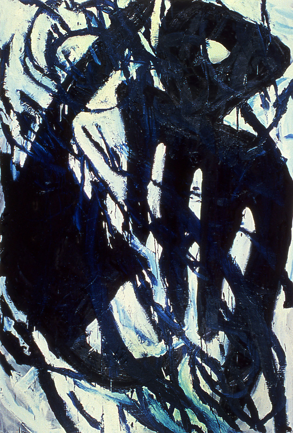 "louder in the dark   79""x53""   oil ON CANVAS  1986"
