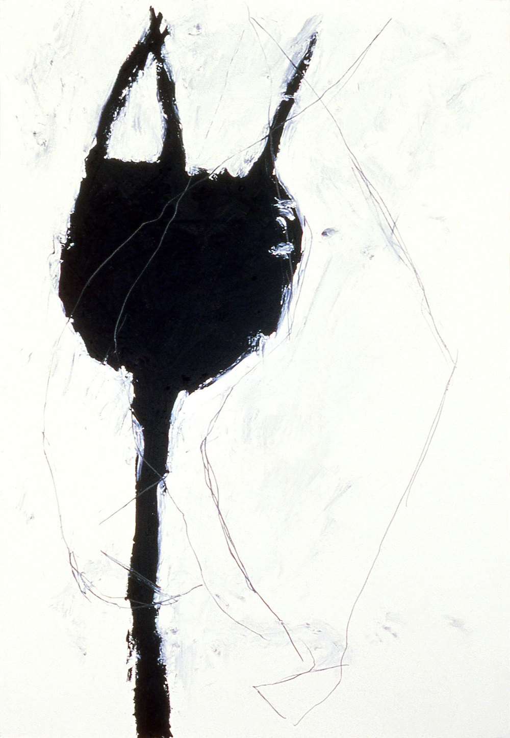 "untitled    54""X37  ""  oilstick and pencil on paper  1988"