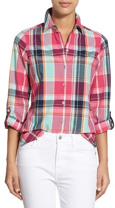 pink plaid + white jeans