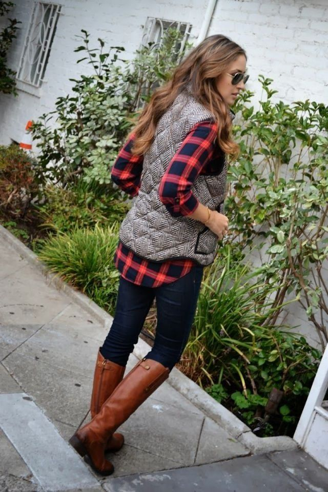 plaid and puffy vest