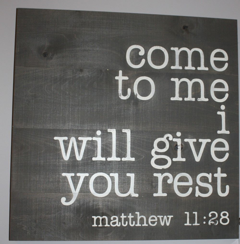 A great verse to remember hangs in the hallway.