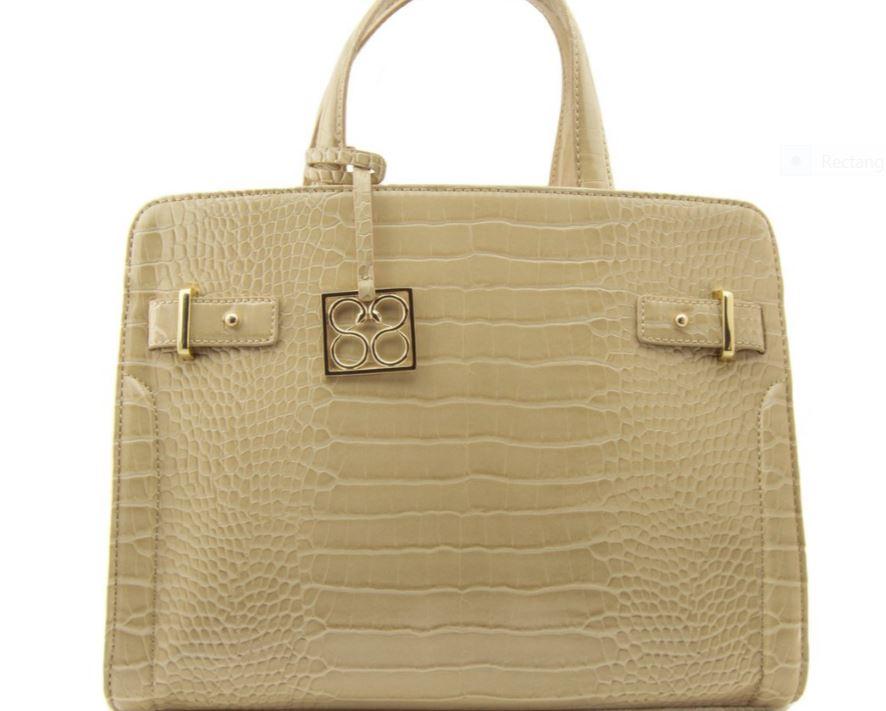 88 Handbags Katie Saffiano Medium Satchel in Croco
