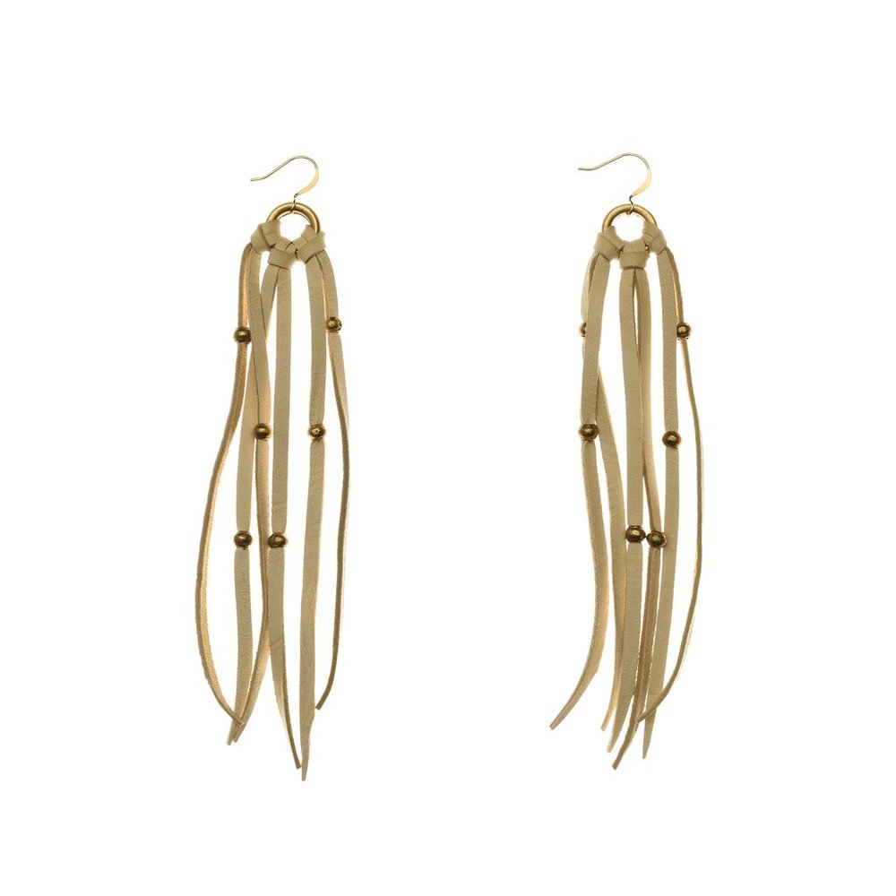 Made from deerskin and recycled bullets, these fringed beauties are handcrafted locally in Charlotte by women overcoming injustice. Fran earrings $18
