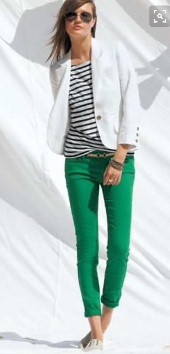 summer green, white and stripes
