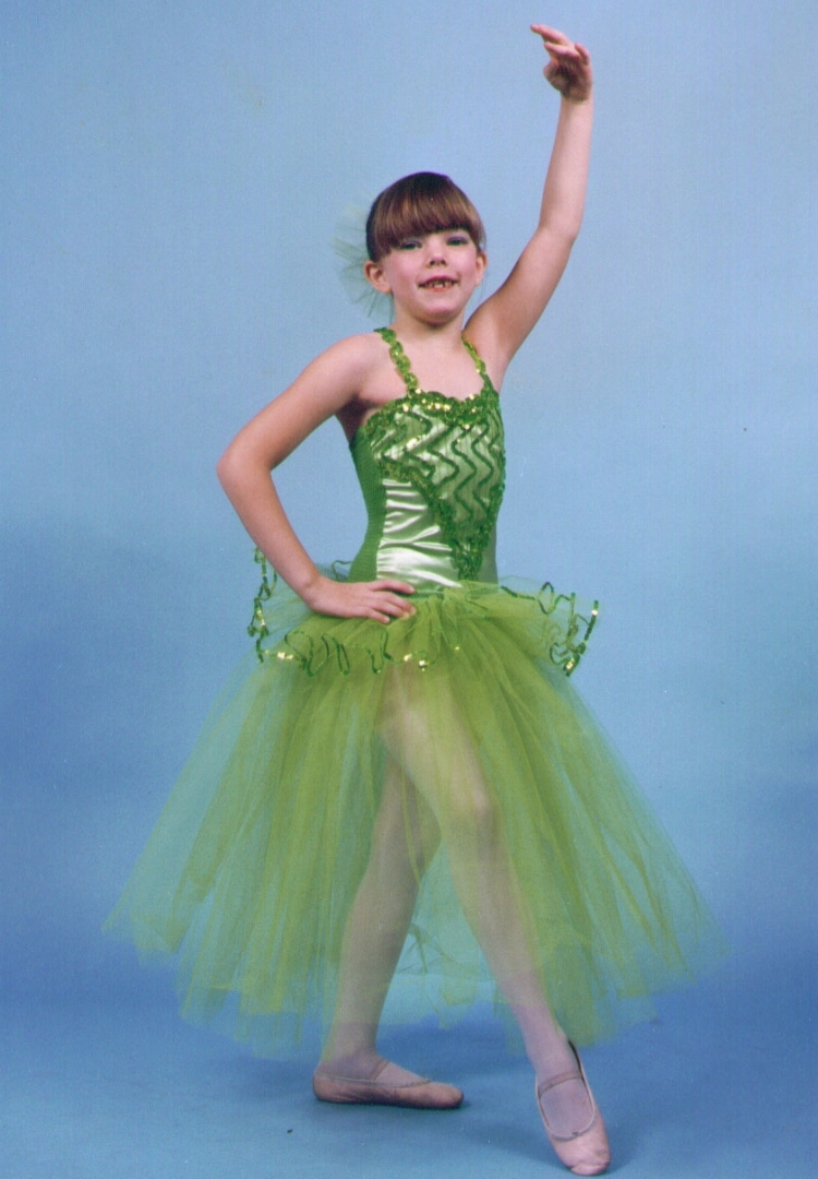 PREPARING FOR HER BALLET RECITAL  GREENSLEEVES  AT AGE 8.