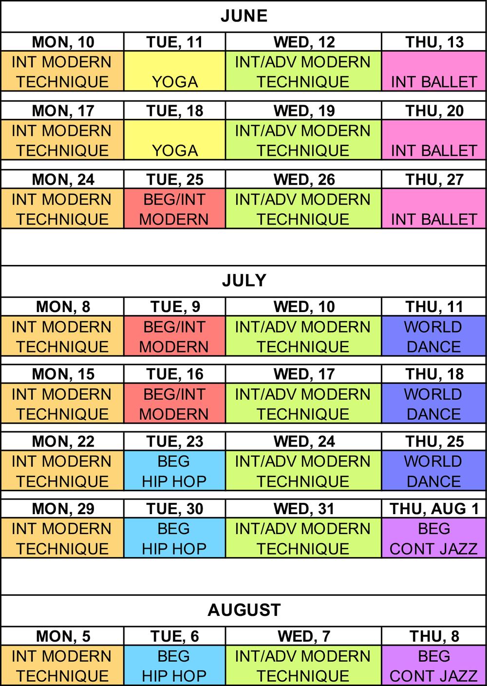 Summer Dance Schedule