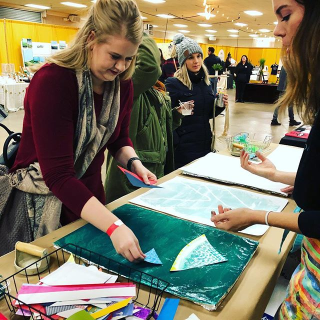 Print your own gift wrap with @artschoolbox at @porterflea! Preview Party is tonight, but we'll be here from 10-6 tomorrow. Nashville Fairgrounds, free admission! #artschoolbox