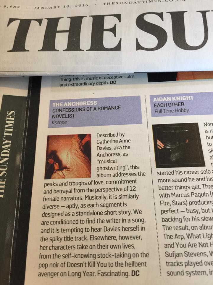 Lovely review of the album from the hard-to-please Dan Cairns in today's Sunday Times. It's in part thanks to this writer that I started making music at all after he raved about Jennifer Terran's album The Musician, which made me decide that I should teach myself to play the piano. Album is out on Friday. X