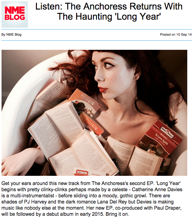 NME premieres Long Year…     It's been an exciting few days.  NME have premiered my song 'Long Year'  - a first taste of the forthcoming  One For Sorrow EP.       Huge thanks also to Steve Lamacq for the first radio play on his 6Music show!     http://www.nme.com/blogs/nme-blogs/listen-the-anchoress-returns-with-the-haunting-long-year