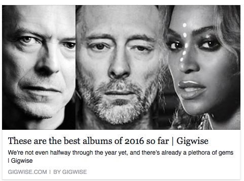 Wow. Thanks to Gigwise for including the album alongside Radiohead, Bowie, and PJ Harvey. What's your album of the year so far? http://www.gigwise.com/features/106885/best-albums-of-2016-bowie-blackstar-radiohead-beyonce-review