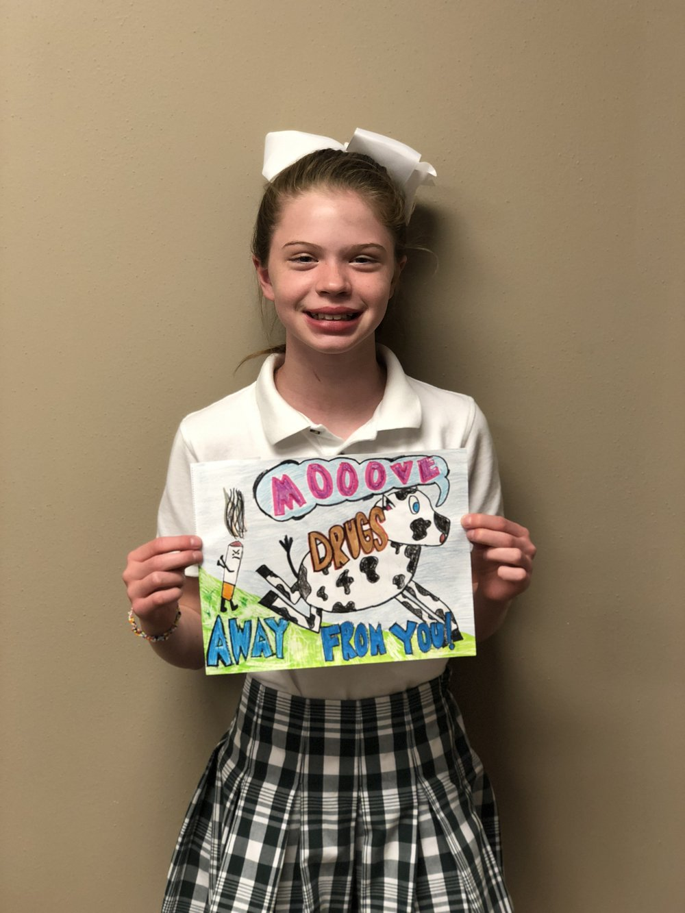 Emmy Roberts - Emmy Roberts is a 5th grader who chose a cow for her artwork because she loves cows. She enjoys playing basketball in her spare time. She has a younger sister, an older stepsister, and 2 dogs. This summer, Emmy will help clean up White Rock Lake and will attend Camp Waldemar.