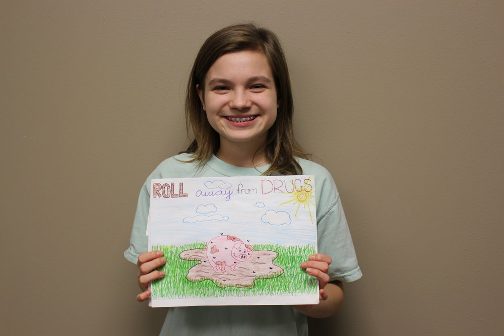 "Maron Shiller - Maron Shiller is a 7th grader who loves all types of dance: lyrical, jazz, and ballet. Her artwork features a colorful pig which she refers to as her ""spirit animal."