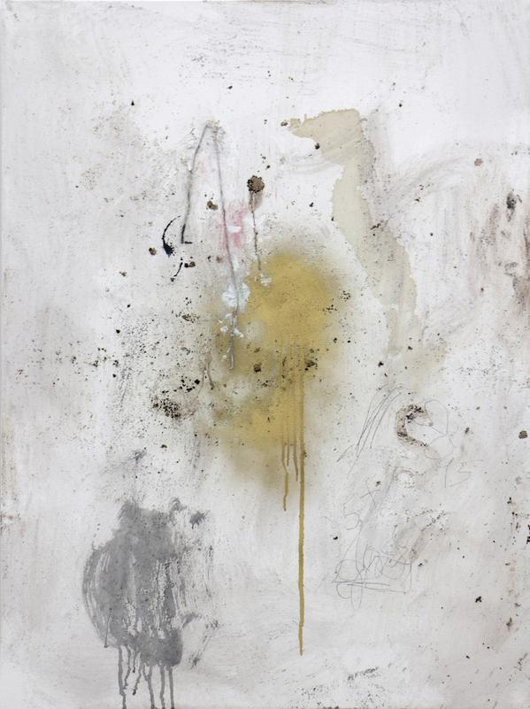 """""""Clear Spot,""""latex house paint, coffee, coffee grounds, pencil, spray paint, oil, ink, stick, string, and hair on stretched canvas, 48"""" x 36"""", 2015 [Image Description: A rectangular, non-representational artwork with a mottled white and ivory background and a few faint smudges of red pigment. The canvas is spattered and encrusted with dark black and brown substances. Faint pencil scribbling and writing appears in the lower righthand quadrant; one can make out the numbers 15 and 5+. Near the center of the canvas, gold metallic paint drips down the canvas. To the left and below that gold paint, a splotch of dark gray paint also drips.]"""